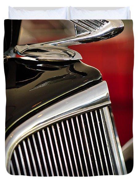 1935 Chevrolet Optional Eagle Hood Ornament Duvet Cover by Jill Reger