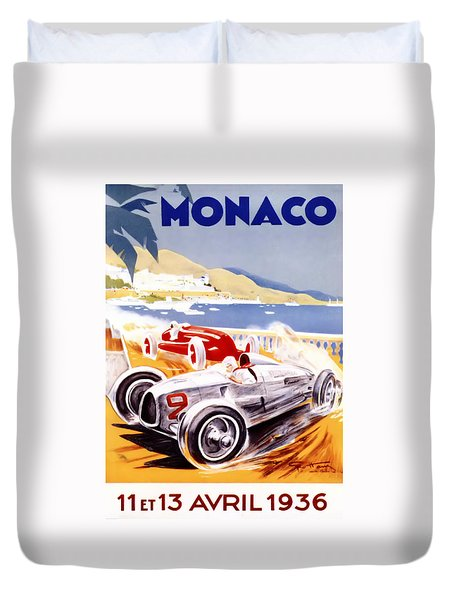 1936 F1 Monaco Grand Prix  Duvet Cover by Nomad Art And  Design