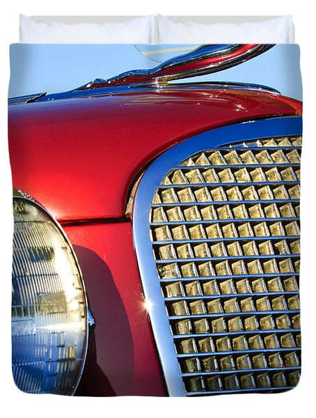 1937 Cadillac V8 Hood Ornament 2 Duvet Cover by Jill Reger