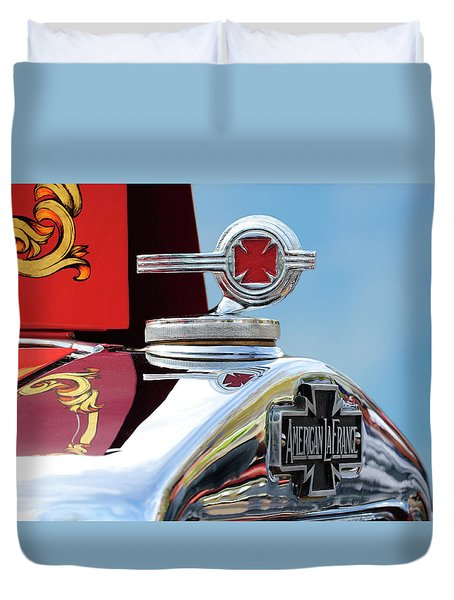 1938 American Lafrance Fire Truck Hood Ornament Duvet Cover by Jill Reger