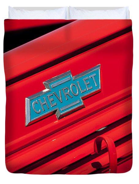1938 Chevrolet Pickup Truck Emblem Duvet Cover by Jill Reger
