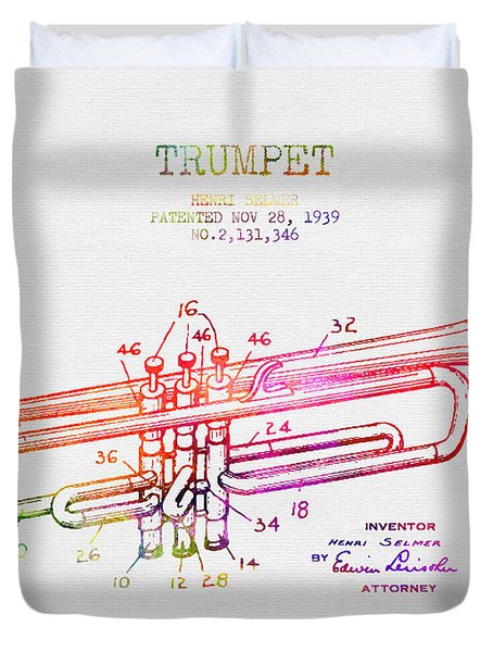 1939 Trumpet Patent - Color Duvet Cover by Aged Pixel