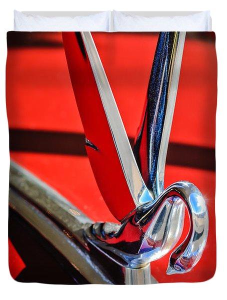 1948 Packard Hood Ornament 2 Duvet Cover by Jill Reger