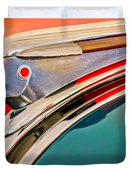 1948 Pontiac Chief Hood Ornament Duvet Cover by Jill Reger