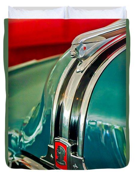 1948 Pontiac Streamliner Woody Wagon Hood Ornament Duvet Cover by Jill Reger