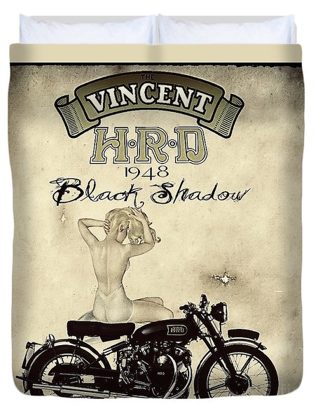 1948 Vincent Black Shadow Duvet Cover by Cinema Photography