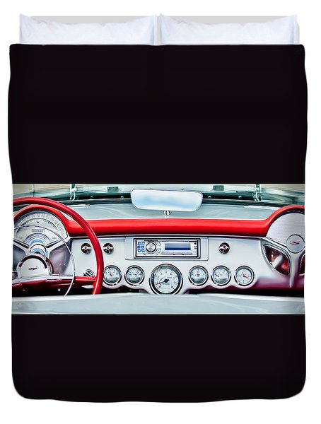 1954 Chevrolet Corvette Dashboard Duvet Cover by Jill Reger