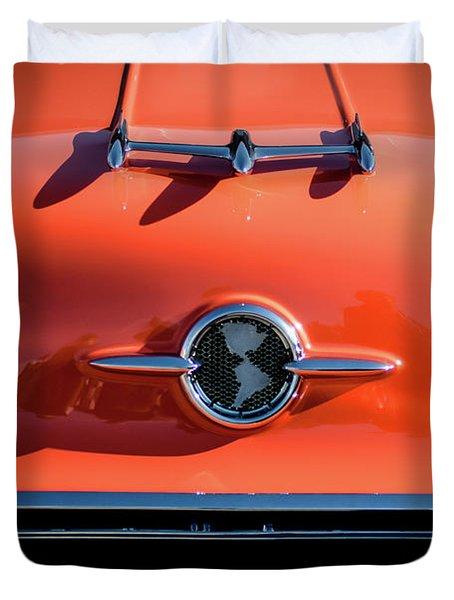 1955 Oldsmobile Rocket 88 Hood Ornament Duvet Cover by Jill Reger