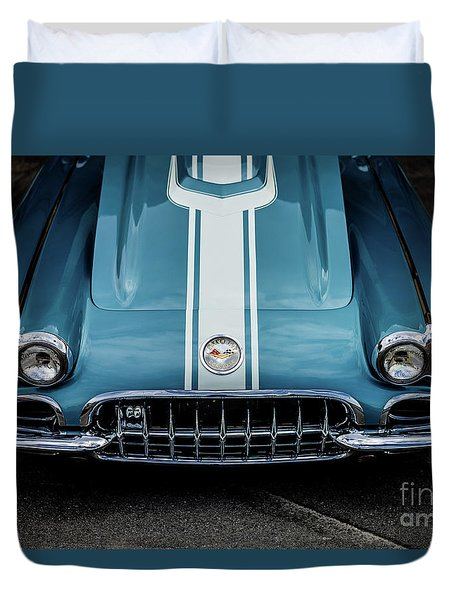 Duvet Cover featuring the photograph 1960 Corvette by M G Whittingham
