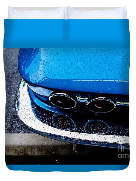 Duvet Cover featuring the photograph 1965 Corvette Sting Ray by M G Whittingham