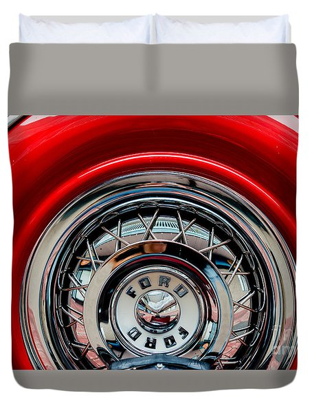 Duvet Cover featuring the photograph 1958 Ford Crown Victoria Wheel by M G Whittingham