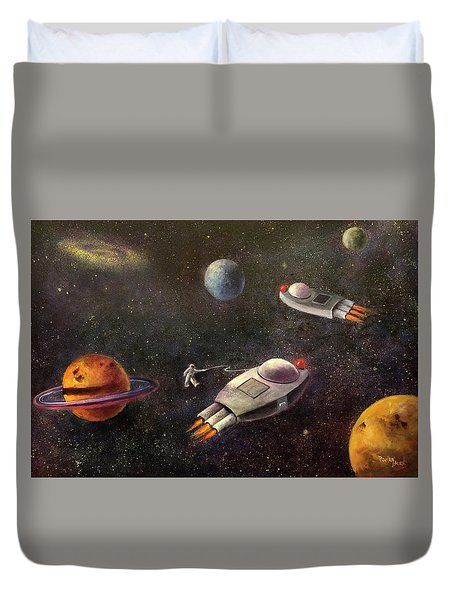 1960s Outer Space Adventure Duvet Cover by Randy Burns aka Wiles Henly