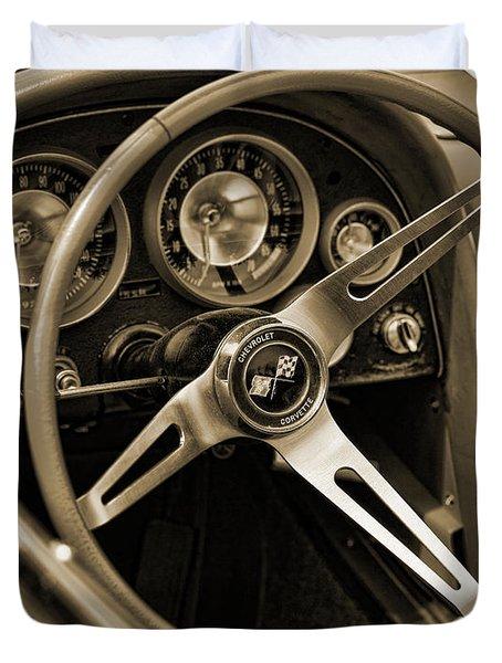 1963 Chevrolet Corvette Steering Wheel - Sepia Duvet Cover by Gordon Dean II