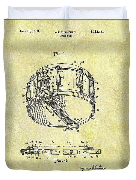 1963 Drum Patent Duvet Cover by Dan Sproul