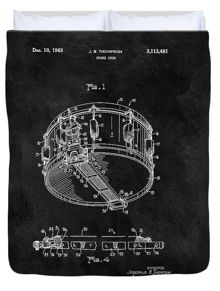 1963 Snare Drum Patent Duvet Cover by Dan Sproul