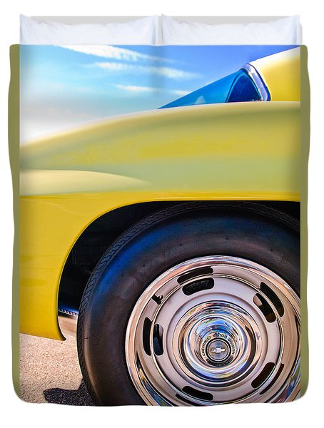 1967 Chevrolet Corvette Sport Coupe Rear Wheel Duvet Cover by Jill Reger
