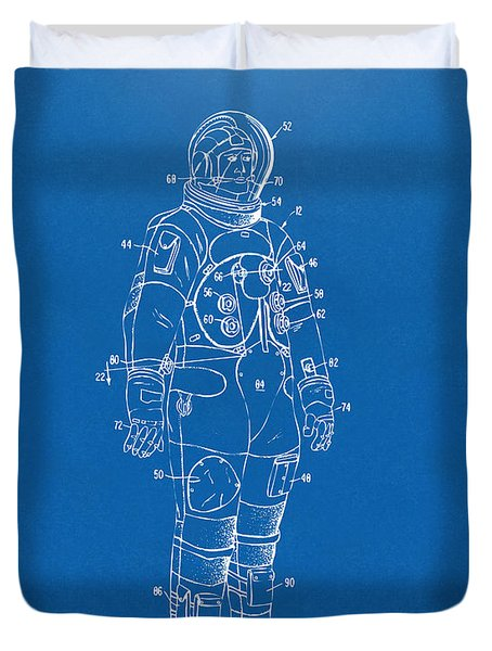 1973 Astronaut Space Suit Patent Artwork - Blueprint Duvet Cover by Nikki Marie Smith