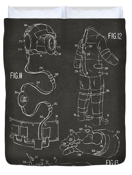 1973 Space Suit Elements Patent Artwork - Gray Duvet Cover by Nikki Marie Smith