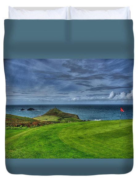 1st Green Cape Cornwall Golf Club Duvet Cover by Chris Thaxter