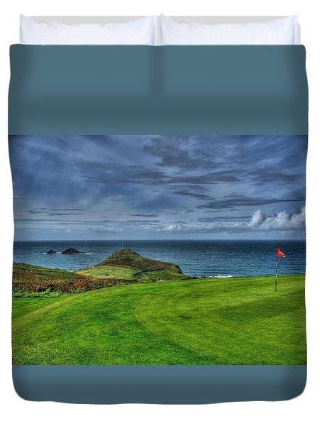 1st green Cape Cornwall Golf Club Duvet Cover by Chris Thaxter
