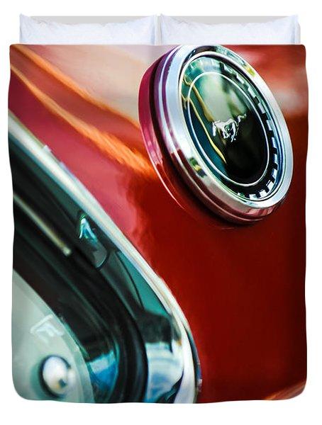 1969 Ford Mustang Mach 1 Emblem Duvet Cover by Jill Reger