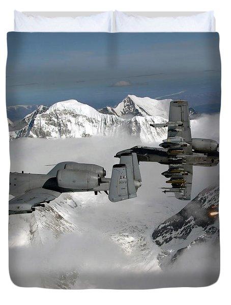 A-10 Thunderbolt Iis Fly Duvet Cover by Stocktrek Images