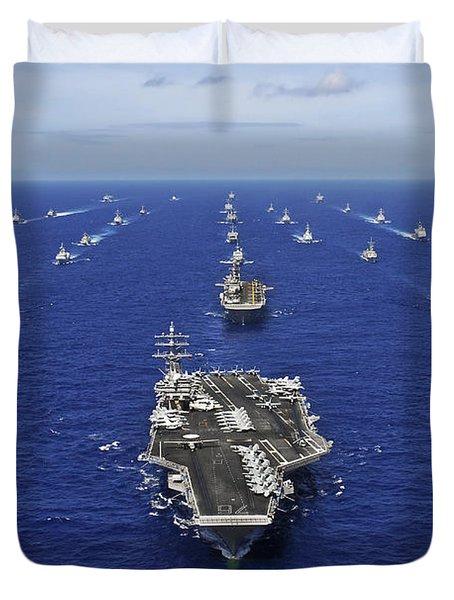 Aircraft Carrier Uss Ronald Reagan Duvet Cover by Stocktrek Images
