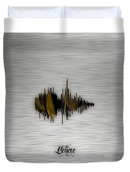 Believe Recorded Soundwave Collection Duvet Cover by Marvin Blaine