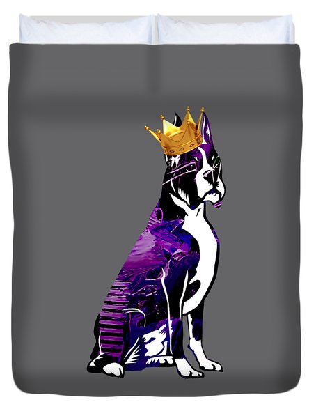 Boxer With Crown Collection Duvet Cover by Marvin Blaine