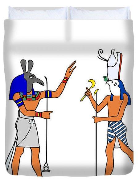 Egyptian Gods And Goddess Duvet Cover by Michal Boubin