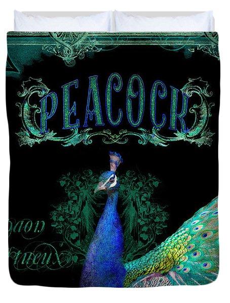 Elegant Peacock W Vintage Scrolls  Duvet Cover by Audrey Jeanne Roberts