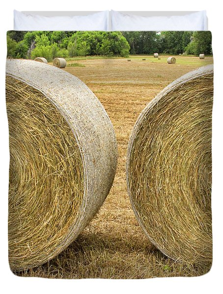 2 Freshly Baled Round Hay Bales Duvet Cover by James BO  Insogna