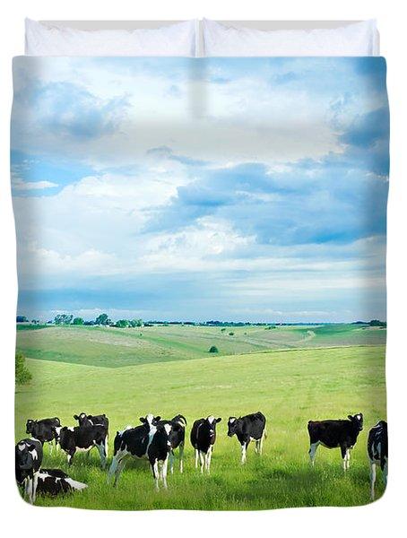Happy Cows Duvet Cover by Todd Klassy