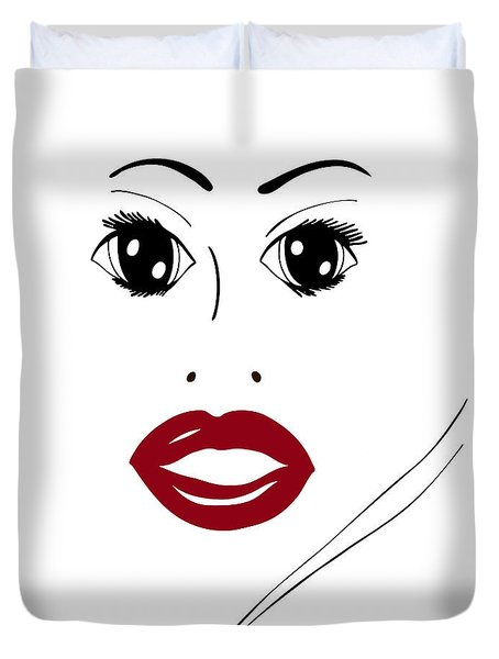 Illustration Of A Woman In Fashion Duvet Cover by Frank Tschakert