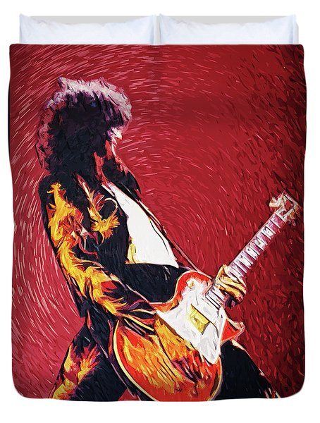 Jimmy Page II Duvet Cover by Taylan Apukovska