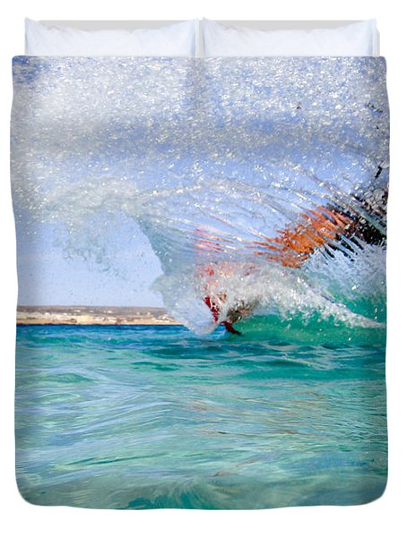 kitesurfing Duvet Cover by Stylianos Kleanthous