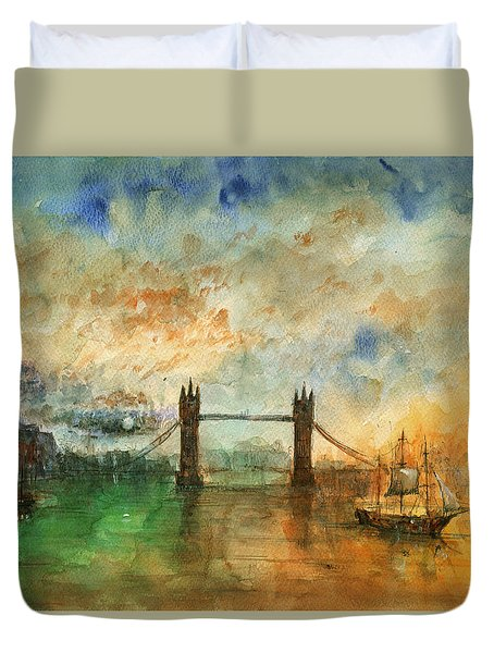 London Watercolor Painting Duvet Cover by Juan  Bosco