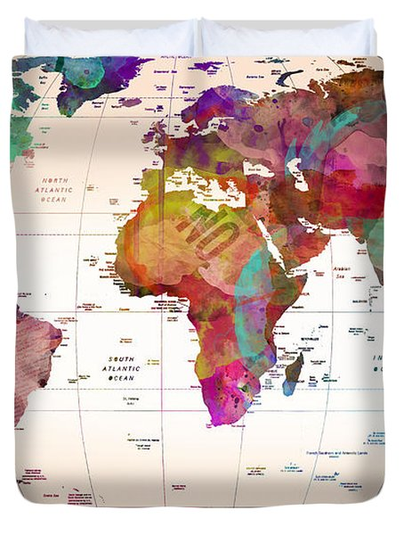 Map Of The World   Duvet Cover by Mark Ashkenazi