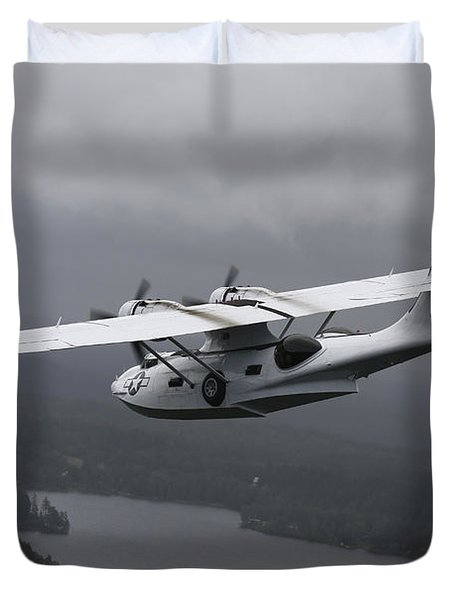 Pby Catalina Vintage Flying Boat Duvet Cover by Daniel Karlsson