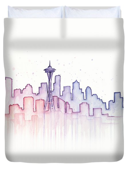 Seattle Skyline Watercolor Duvet Cover by Olga Shvartsur