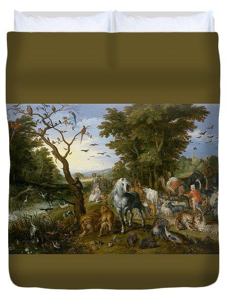 The Entry Of The Animals Into Noah's Ark Duvet Cover by Jan Brueghel the Elder