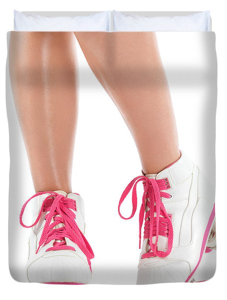 Young Woman Wearing Roller Derby Skates Duvet Cover by Oleksiy Maksymenko