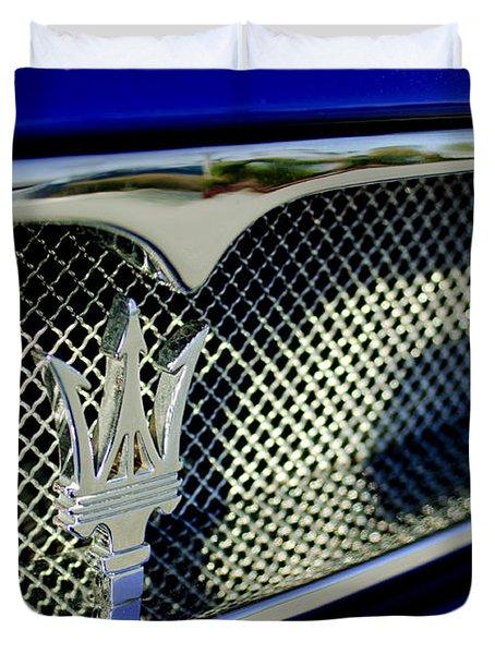 2002 Maserati Hood Ornament Duvet Cover by Jill Reger