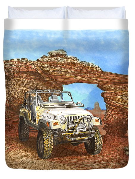 2005 Jeep Rubicon 4 wheeler Duvet Cover by Jack Pumphrey