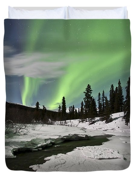 Aurora Borealis Over Creek, Yukon Duvet Cover by Jonathan Tucker