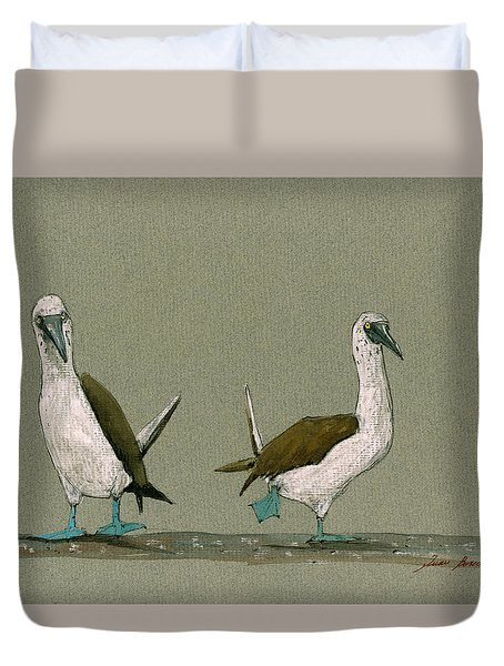 Blue Footed Boobies Duvet Cover by Juan  Bosco