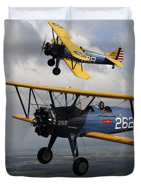Boeing Stearman Model 75 Kaydet In U.s Duvet Cover by Daniel Karlsson