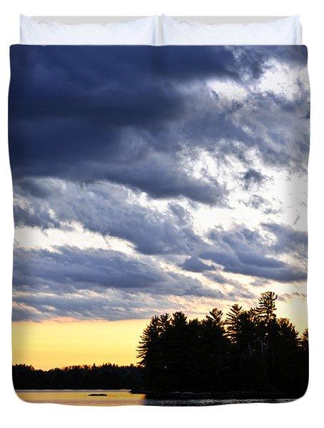 Dramatic sunset at lake Duvet Cover by Elena Elisseeva