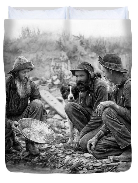3 Men And A Dog Panning For Gold C. 1889 Duvet Cover by Daniel Hagerman
