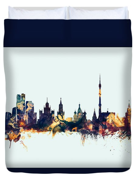 Moscow Russia Skyline Duvet Cover by Michael Tompsett